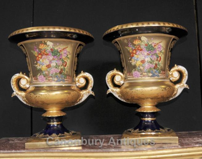 Pair French Sevres Porcelain Floral Vases Lidded Urns