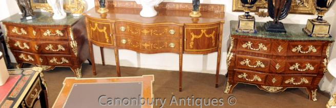 Pair Large Empire Bombe Commodes Chests of Drawers Kingwood