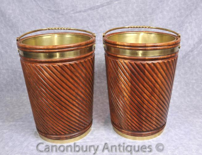 Pair Large Victorian English Peat Buckets Planters