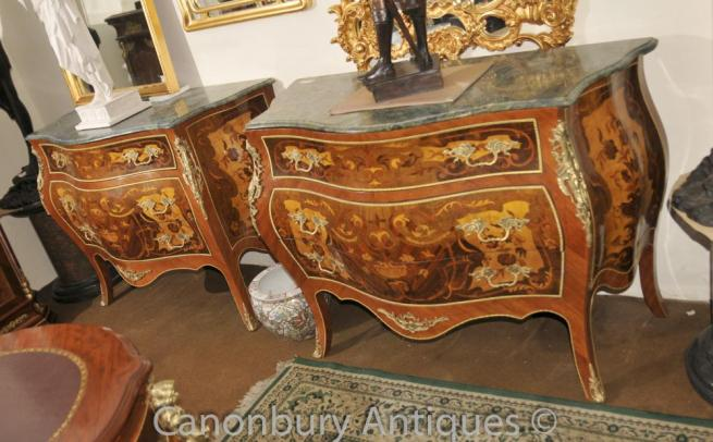 Pair Louis XVI Bombe Chest of Drawers Commodes Marquetry Inlay