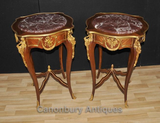 Pair Louis XVI Side Tables Ormolu Maiden Leg Mounts