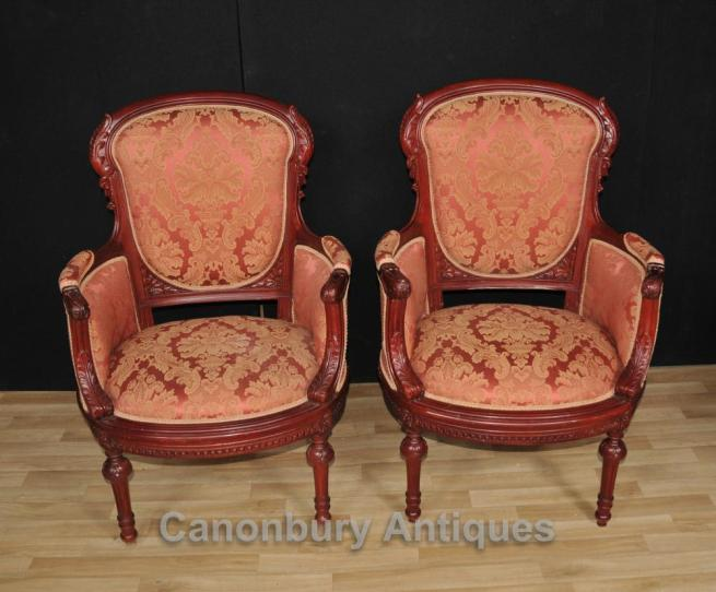 Pair Victorian Arm Chairs Mahogany Seats Chair Sofa