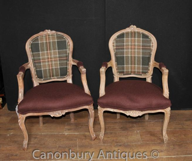 Pair Victorian Tartan Arm Chairs Chair Fauteuil