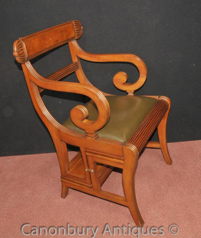 Regency Metamorphic Chair Library Steps Ladder Walnut Arm Chairs