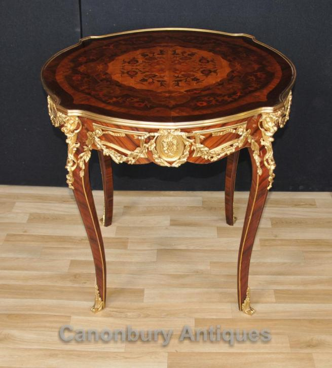 Single French Empire Side Table Marquetry Inlay Tables