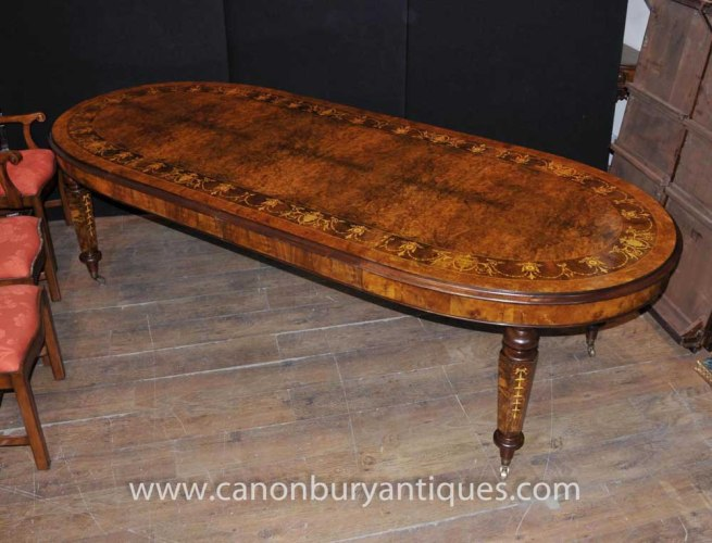 Victorian Walnut Extending Dining Table Marquetry Inlay Tables
