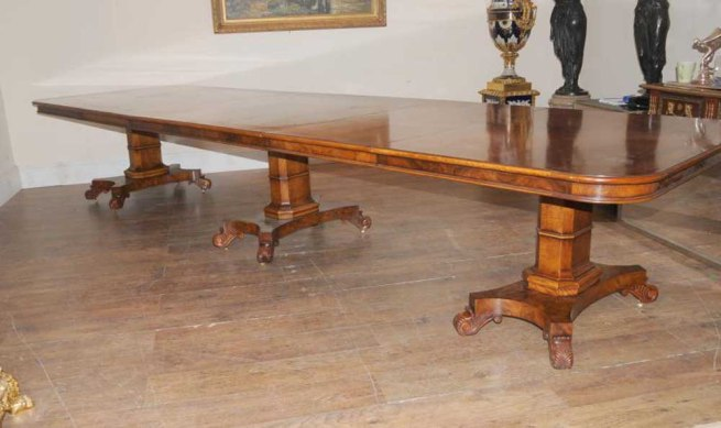 Walnut Regency Extending Dining Table 14 ft Diner