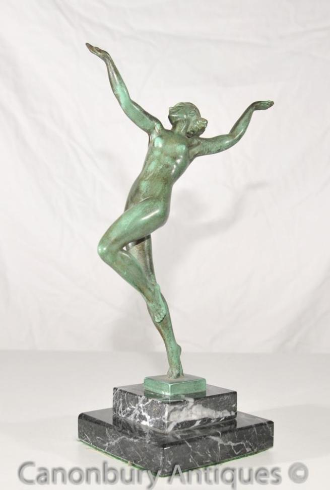 Antique 1920s Bronze Nymp Dancer Signed Guerbe Le Verrier