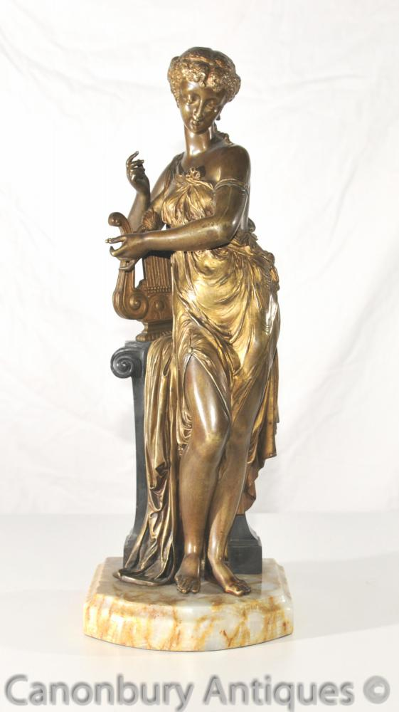 Antique Art Nouveau Bronze Lyre Maiden Statue 1890s