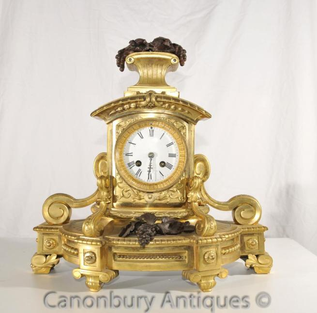 Antique French Empire Mantle Clock Ormolu and Bronze