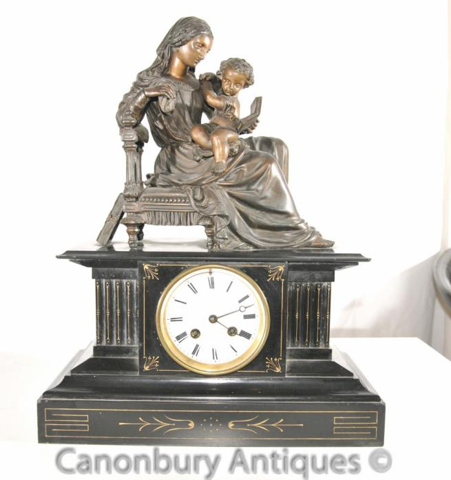 Antique French Empire Marble Bronze Mantle Clock Female Cherub