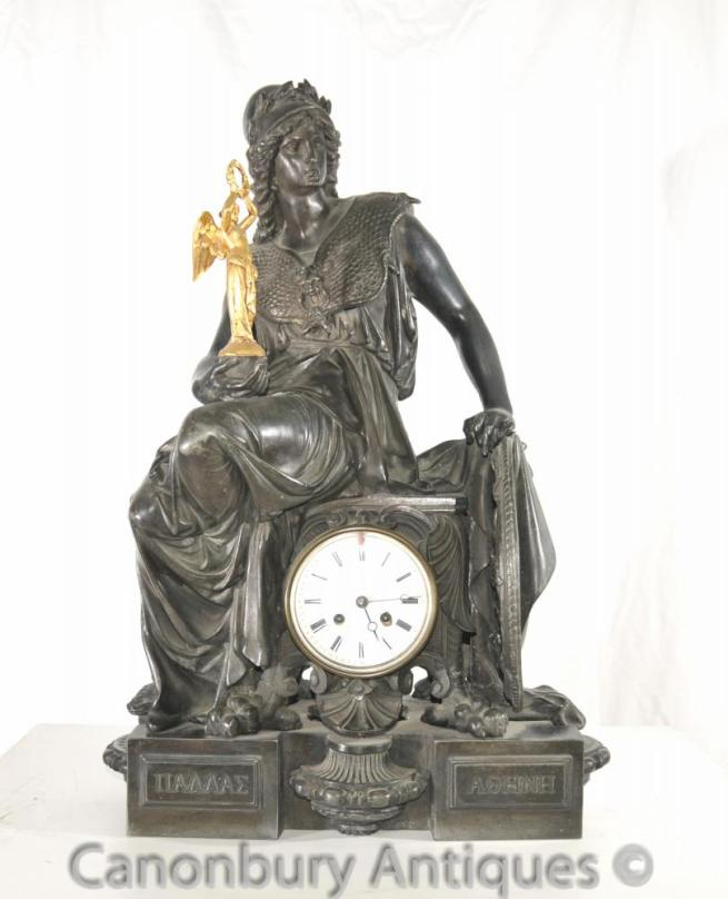 Antique French Empire Spelter Garniture Clock Set