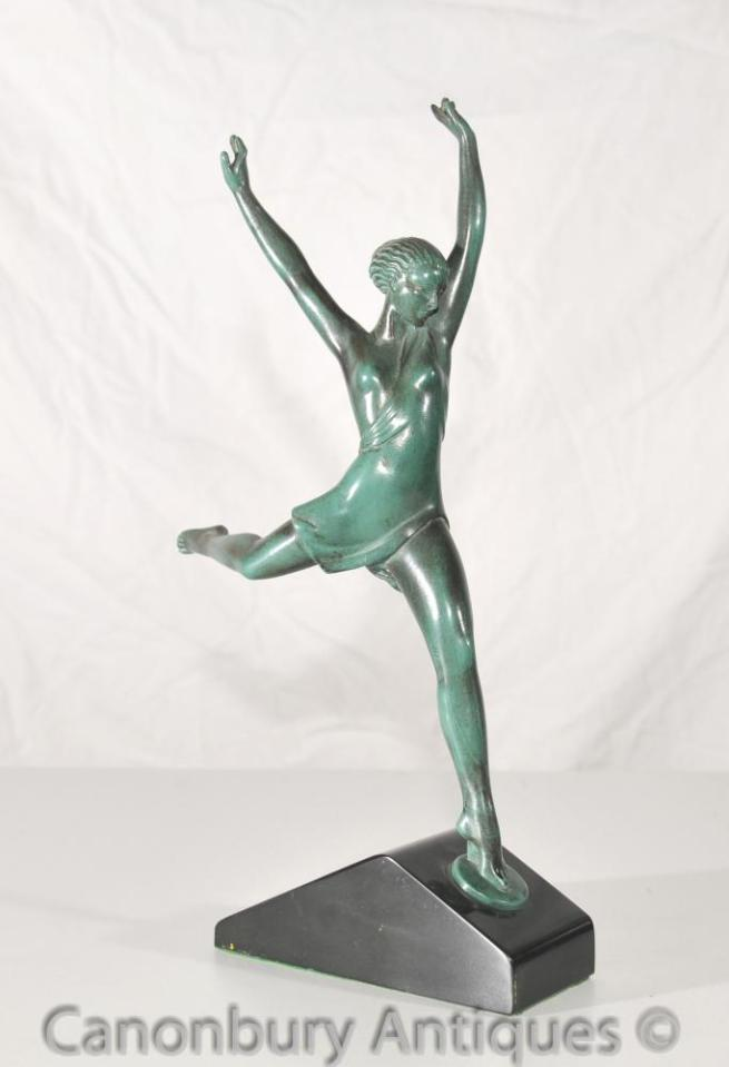 Antique Max Le Verrier Art Deco Bronze Dancer Statue Figurine