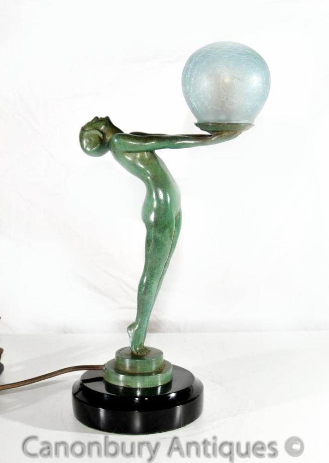 Art Deco Bronze Clarte Biba Girl Figurine Table Lamp Light