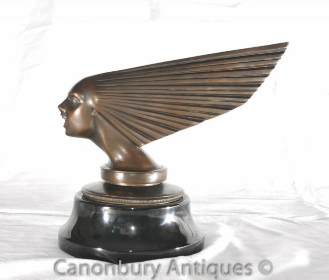 Bronze Art Deco Flying Lady Bust Statue Car Mascot