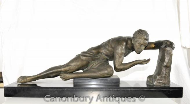 French Spelter Antique Art Deco Male Nude Statue Erotic