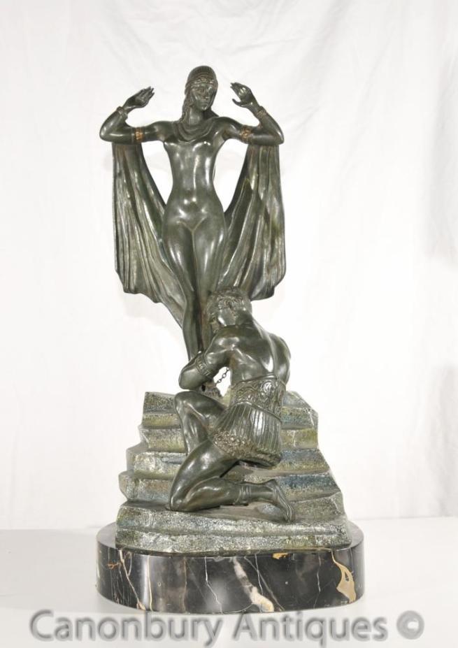 Kinky Antique Art Deco Bronze Figurine Slave Repatriation of Ilda Erotic