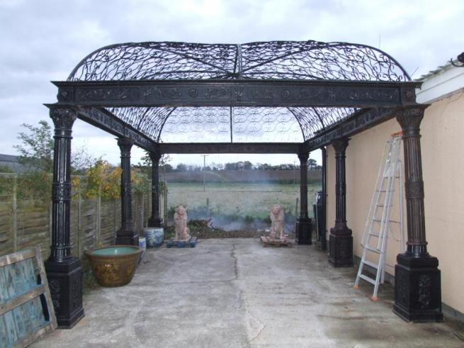 Massive Victorian Cast Iron Gazebo Arbor Architectural Garden Casting