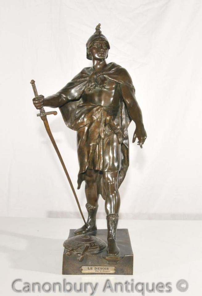 Original Le Devoir Antique Bronze Roman Soldier Statue by E Picault