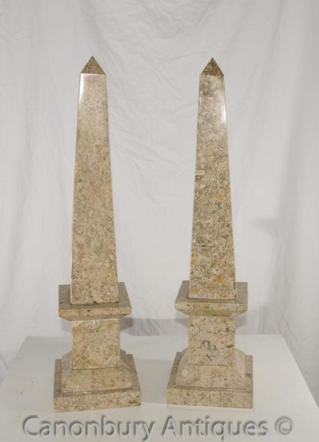 Pair French Empire Marble Obelisks Egyptian Obelisk