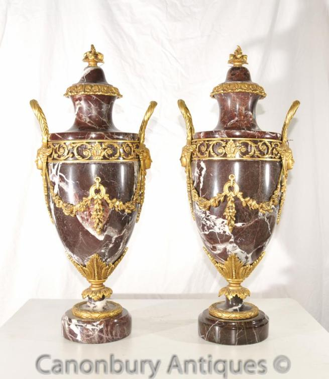 Pair French Empire Marble Ormolu Amphora Urns Decorative