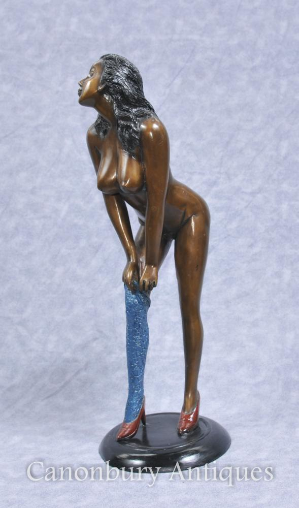 1970s Semi Nude Female Figurine Kitsch Erotic Art Statue
