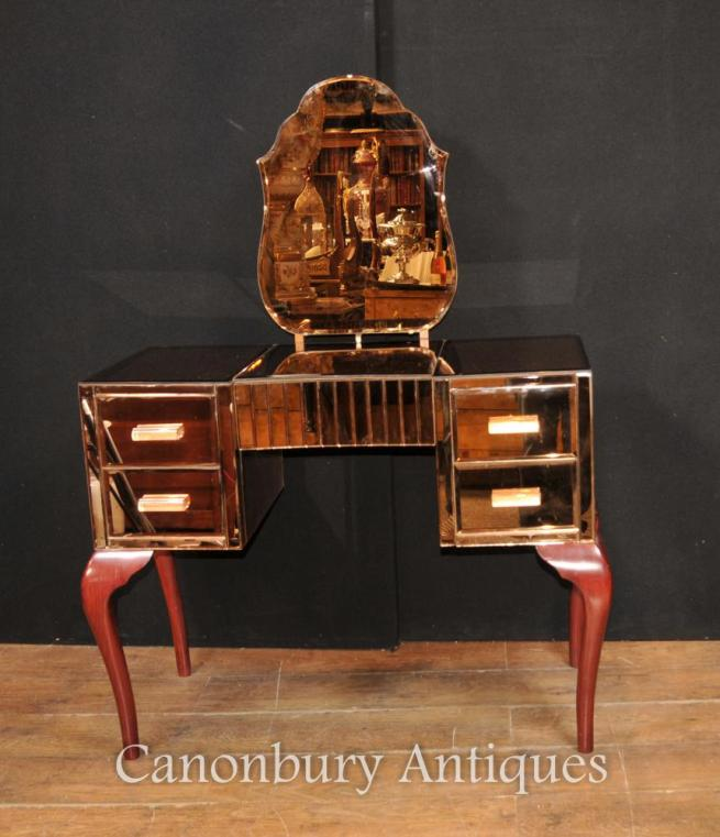 Antique Art Deco Mirrored Dressing Table Desk Table