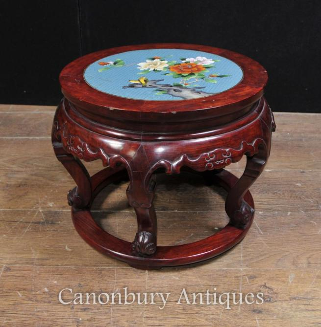 Antique Chinese Cloisonne Hardwood Pedestal Stand Table