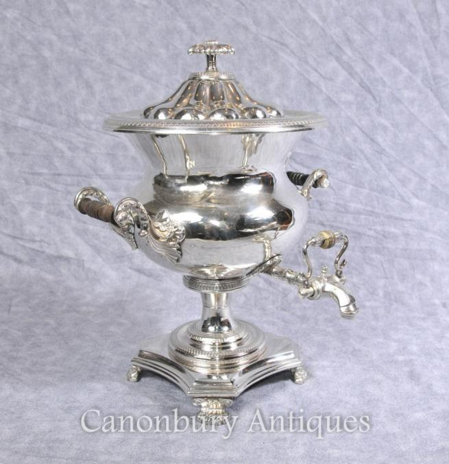 Antique English Silver Plate Samovar Tea Coffee Urn Sheffield Silverplate
