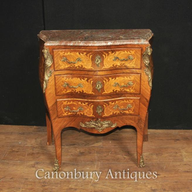Antique French Empire Bombe Commode Chest of Drawers 1890