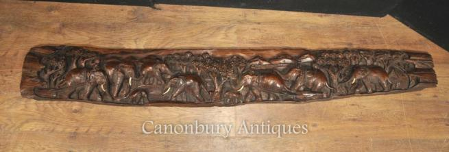 Antique Hand Carved Indian Hard Wood Elephant Freize Architectural Placque