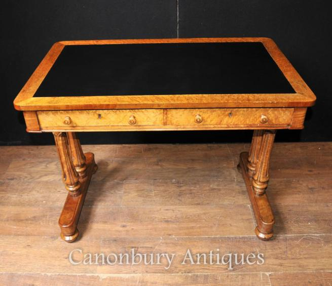 Antique Maple Wood Regency Writing Table Desk Circa 1830 Tulip Legs