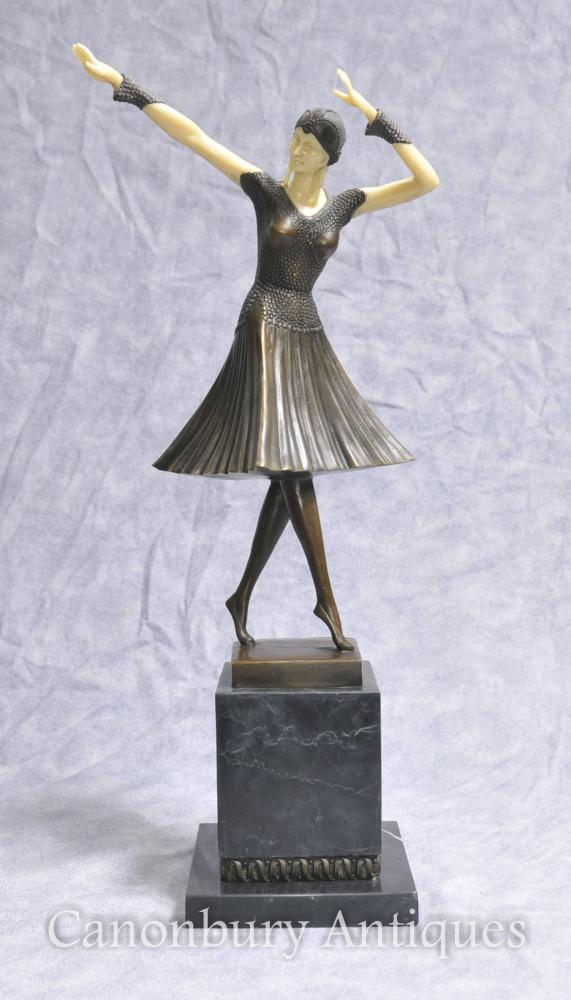 Art Deco Bronze Chiparus Figurine Female Dancer Flapper