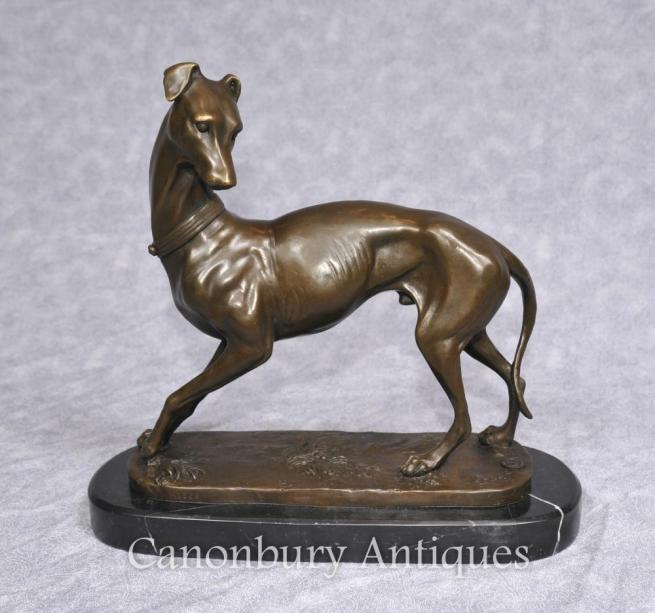 Art Deco Bronze Greyhound Statue by Barye Signed French Dogs