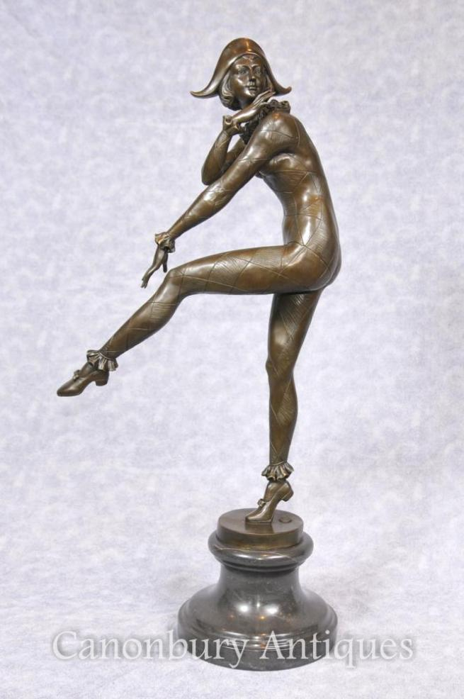 Art Deco Bronze Harlequin Dancer Statue Signed Gilbert Foundry Mark