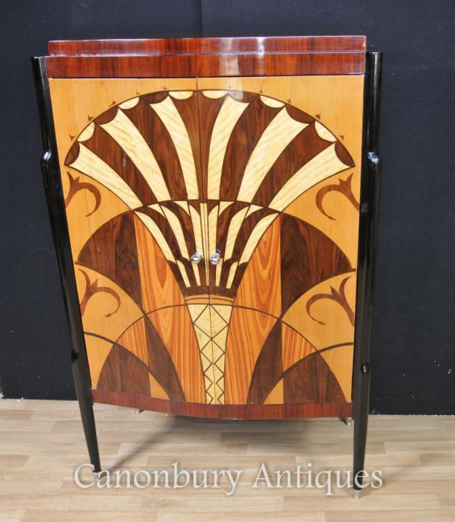 Art Deco Cabinet Commode Marquetry Inlay Furniture