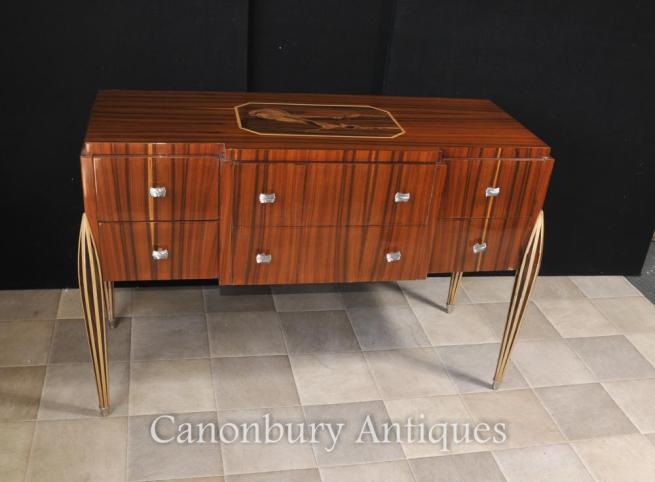 Art Deco Chest of Drawers Cabinet Server Inlay