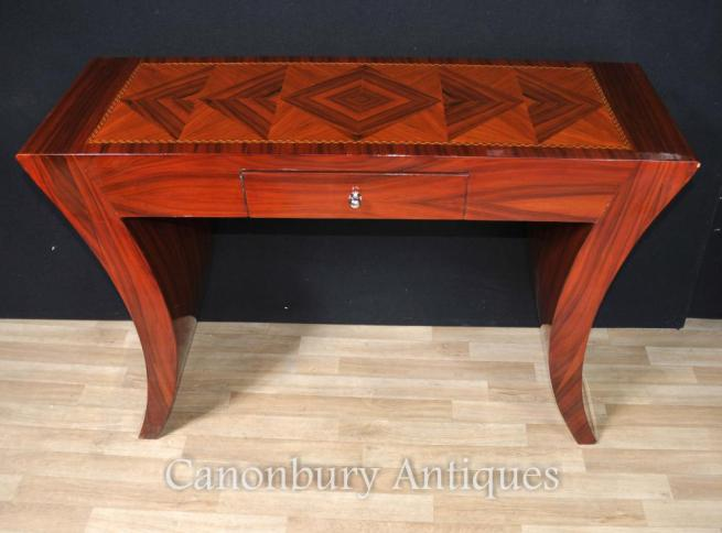 Art Deco Console Table Rosewood Lozenge Inlay