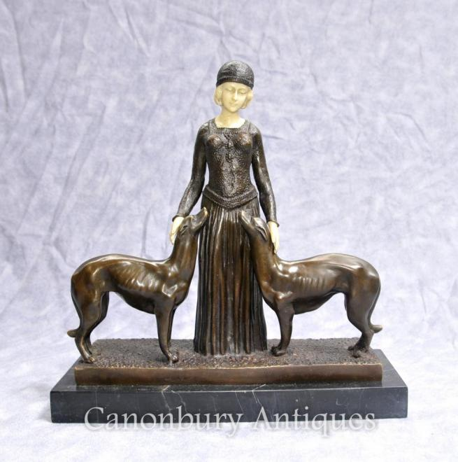 Art Deco Eternal Friends Statue Signed Chiparus Figurine Borzoi