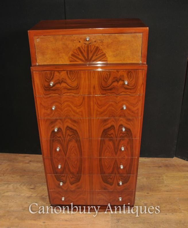 Art Deco Walnut Chest Drawers Cabinet Tall Boy Furniture