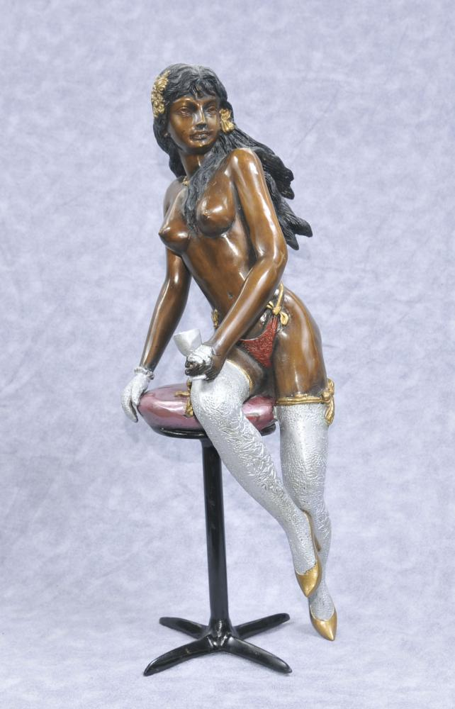Bronze Erotic Lady Statue Stool Girl Sexy Figurine