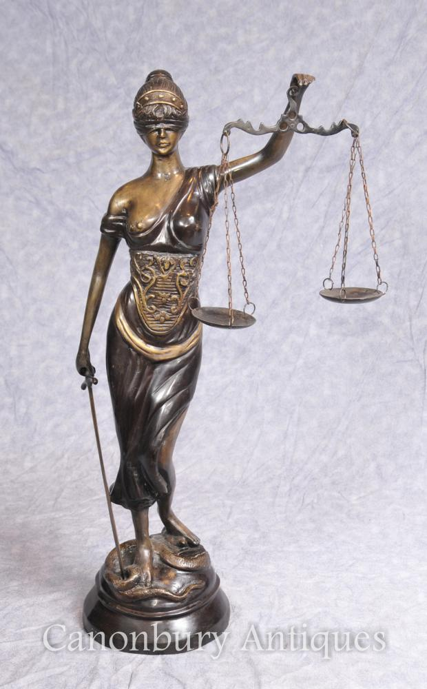 Bronze Lady Justice Statue Scales Legal Justitia Themis
