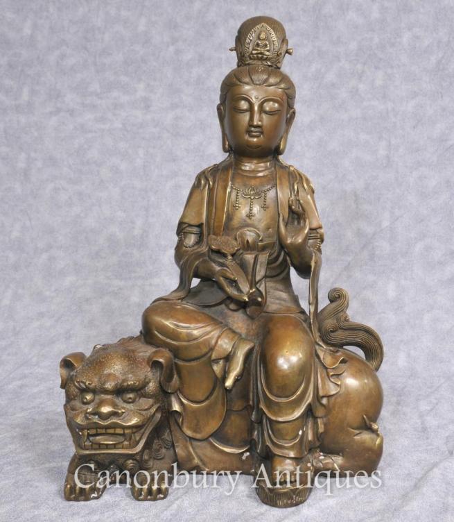 Bronze Tibetan Bronze Statue Buddhist Fugen Monju Samantabhadra Manjushri