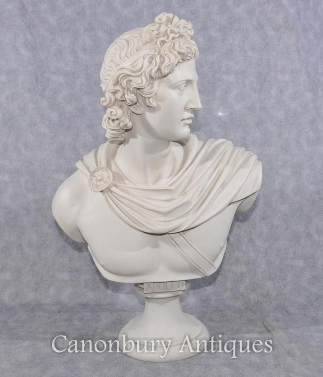 Classic Italian Stone Bust Apollo Greek God