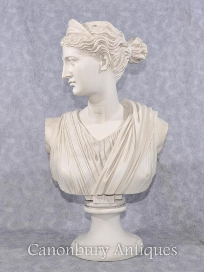Classic Italian Stone Bust Diana the Hunter Statue Sculpture