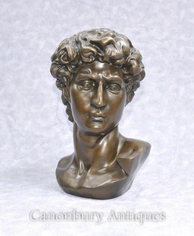 Classical Bronze Bust David by Michelangelo Renaissance Art Statue