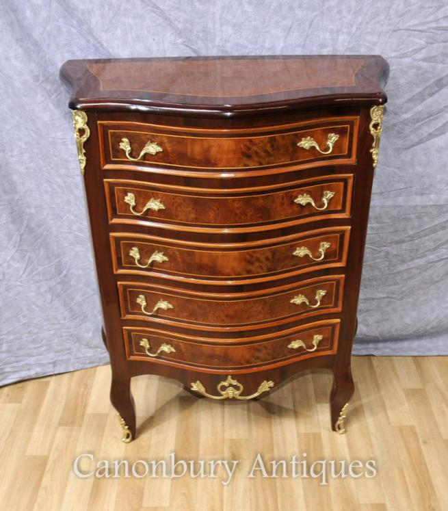 Empire Bow Front Chest of Drawers Cabinet Tall Boy