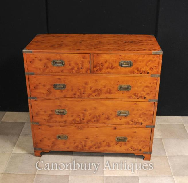 English Campaign Chest Drawers Cabinet Satinwood Colonial Furniture
