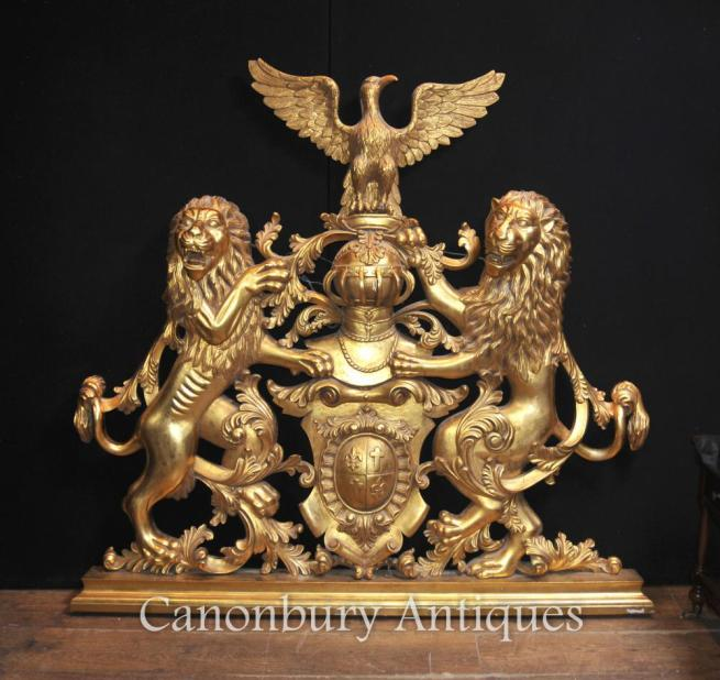 English Gilt Coat of Arms Hand Carved Heraldry Knight Shield Lion