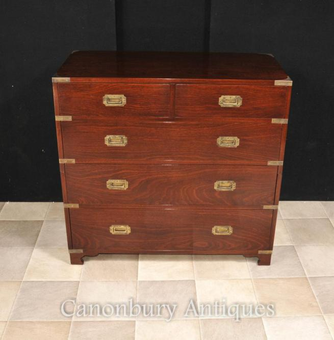 English Mahogany Campaign Chest of Drawers Colonial Furniture